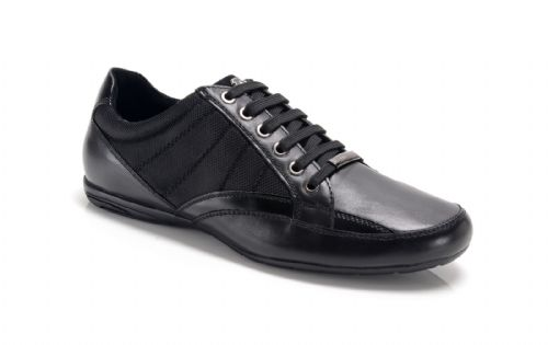 Bambooa Chrome Black Leather & Mesh Mens Designer Casual Shoes Trainers